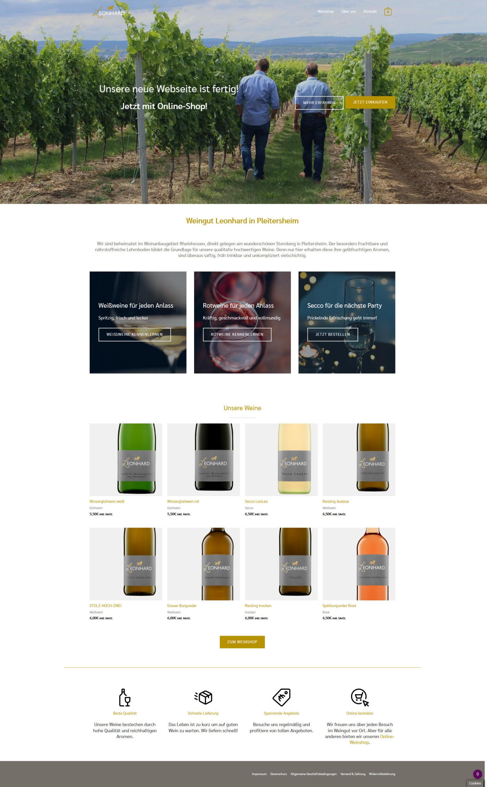 Gesamte Webseite Weingut Leonhard